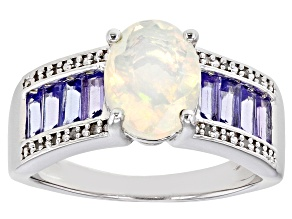 Multi-color Ethiopian Opal Rhodium Over Silver Ring 2.01ctw