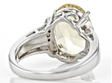 Yellow Labradorite Rhodium Over Sterling Silver Ring 4.36ctw