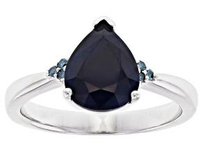 Blue Sapphire Rhodium Over Silver Ring 2.20ctw