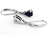 Blue Sapphire Rhodium over Sterling Silver Dangle Earrings 1.46ctw