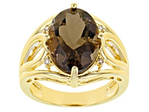 Brown Smoky Quartz 18k Yellow Gold Over Silver Ring 5.05ctw