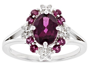 Purple Rhodolite Rhodium Over Sterling Silver Ring 1.66ctw