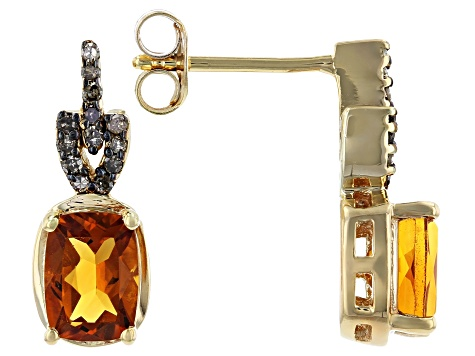 Orange Madeira Citrine 18k Yellow Gold Over Silver Earrings 1.58ctw