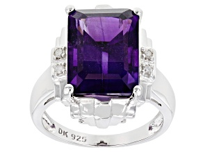 Purple Amethyst Rhodium Over Sterling Silver Ring 6.09ctw