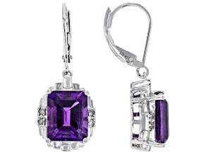 Purple Amethyst Rhodium Over Sterling Silver Earrings 6.17tw