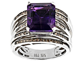 Purple Amethyst Rhodium Over Sterling Silver Ring 5.04ctw