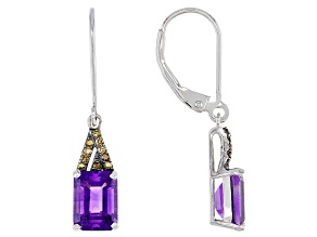 Purple Amethyst Rhodium Over Sterling Silver Dangle Earrings 2.66ctw