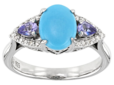 Blue Sleeping Beauty Turquoise Rhodium Over Silver Ring .34ctw