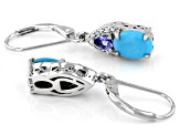 Blue Sleeping Beauty Turquoise Rhodium Over Silver earrings .34ctw