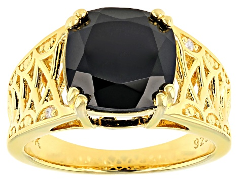 Black Spinel 18k Gold Over Silver Ring 4.53ctw