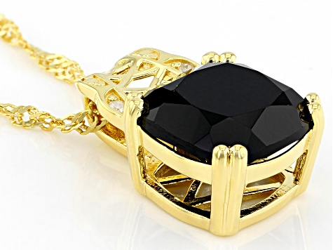 Black Spinel 18k Gold Over Silver Pendant With Chain 4.52ctw