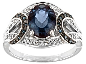 Blue Lab Created Alexandrite Rhodium Over Sterling Silver Ring 1.96ctw