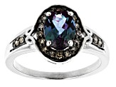 Blue Lab Created Alexandrite Rhodium Over Sterling Silver Ring 1.46ctw