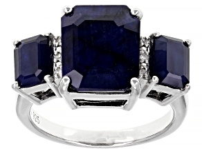 Blue Sapphire Rhodium Over Sterling Silver Ring 7.60ctw