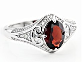 Red Garnet Rhodium Over Sterling Silver Ring 1.18ctw