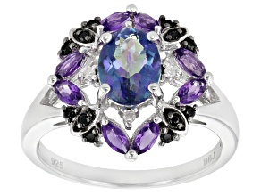 Multicolor Petalite Rhodium Over Sterling Silver Ring 1.58ctw