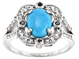 Oval Sleeping Beauty Turquoise, Blue Diamond Accent, Zircon Rhodium Over Silver Ring 1.54ctw