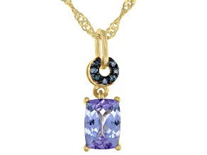 Rectangular Cushion Tanzanite With Blue Diamond Accent Rhodium Over Silver Pendant W/ Chain