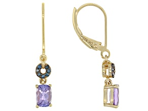 Blue Tanzanite 18k Yellow Gold Over Silver Earrings 1.00ctw
