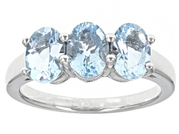 Picture of Blue Aquamarine Rhodium Over Sterling Silver Ring 1.56ctw