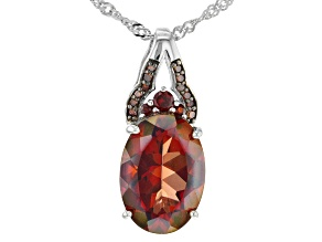 Red Labradorite,Rhodium Over Sterling Silver Pendant With Chain 4.56ctw