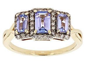 Blue Tanzanite 18k Gold Over Silver Ring 1.26ctw