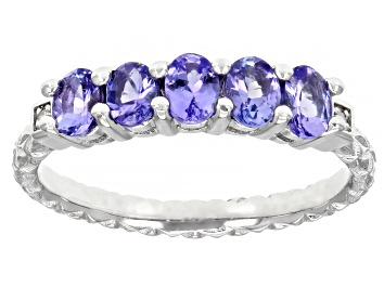 Picture of Blue Tanzanite Rhodium Over Sterling Silver Band Ring 0.82ctw