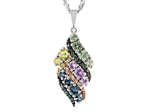 Multi-Color Sapphire Rhodium Over Silver Pendant with Chain 1.15ctw