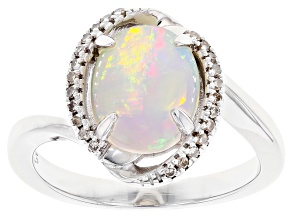 Multicolor Ethiopian Opal Rhodium Over Silver Ring 1.61ctw