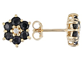 Round Blue Sapphire and Diamond Accent 18k Yellow Gold Over Silver Flower Earrings 1.79ctw