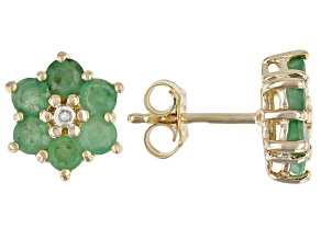 Green Emerald and 0.01ctw Diamond Accent 18k Yellow Gold Over Silver Flower Earrings 1.58ctw