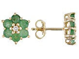 Green Emerald and 0.01ctw Diamond Accent 18k Gold Over Silver Flower Earrings 1.58ctw