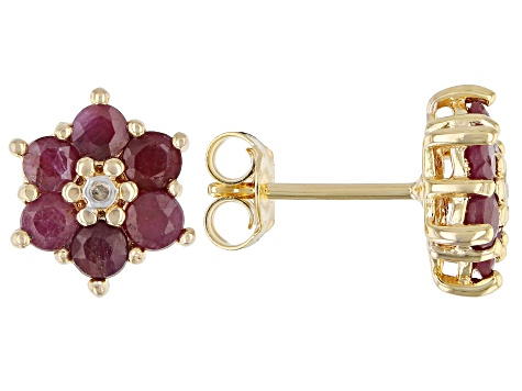 Round Ruby and Diamond Accent 18k Yellow Gold Over Silver Flower Earrings 2.17ctw