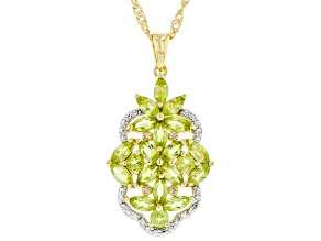 Green Peridot 18K Gold Over Sterling Silver Pendant With Chain 2.83ctw