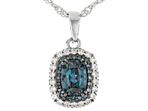 Blue Lab Created Alexandrite Rhodium Over  Silver Pendant With Chain 1.20ctw