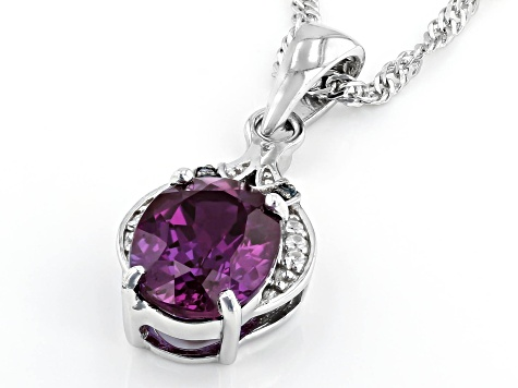 Lab Created Alexandrite Rhodium Over Sterling Silver Pendant With Chain 1.82ctw