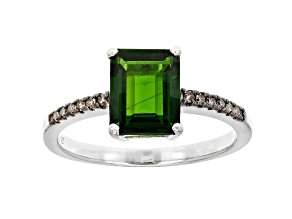 Octagonal Chrome Diopside Rhodium Over Sterling Silver Ring 1.93ctw