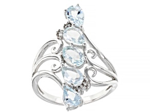 Blue Aquamarine Rhodium Over silver Ring 1.48ctw