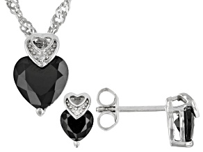 Black Spinel Rhodium Over Silver Earring, Pendant Chain Set 2.63ctw