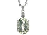 Green Prasiolite Rhodium Over Sterling Silver Pendant With Chain. 7.83ctw