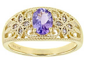 Blue Tanzanite 18K Yellow Gold Over Sterling Silver Ring 0.71ctw