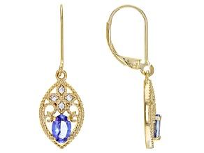 Blue Tanzanite 18K Yellow Gold Over Silver Dangle Earrings 0.84ctw