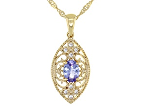 Blue Tanzanite 18K Yellow Gold Over Silver Pendant With Chain 0.71ctw