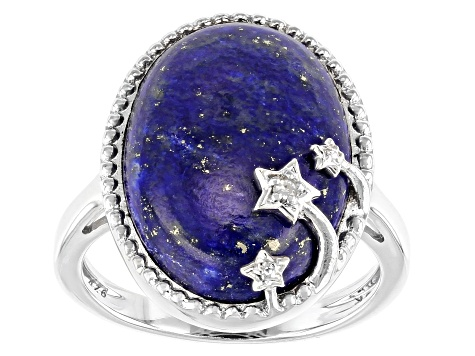 Blue Lapis Lazuli Rhodium Over Sterling Silver Ring 18x13mm