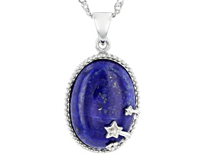 Blue Cabochon Lapis Lazuli Rhodium Over Silver Pendant W/ Chain 18x13mm
