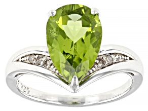 Green Peridot Rhodium Over Sterling Silver Ring 2.58ctw