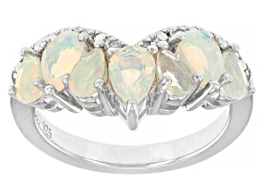 Multicolor Ethiopian Opal Rhodium Over Sterling Silver Ring 1.06ctw