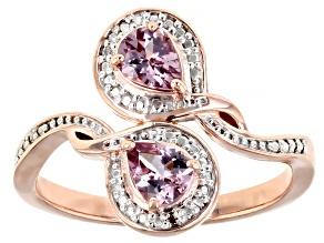 Color Shift Garnet 18K Rose Gold Over Sterling Silver Ring .61ctw