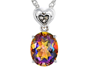 Multi-Color Northern Lights(TM) Quartz Rhodium Over Sterling Silver Pendant With Chain 1.91ctw