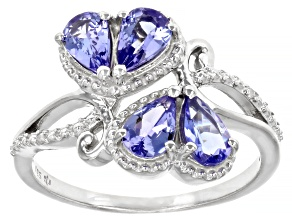 Blue Tanzanite Rhodium Over Sterling Silver Heart Ring 1.36ctw
